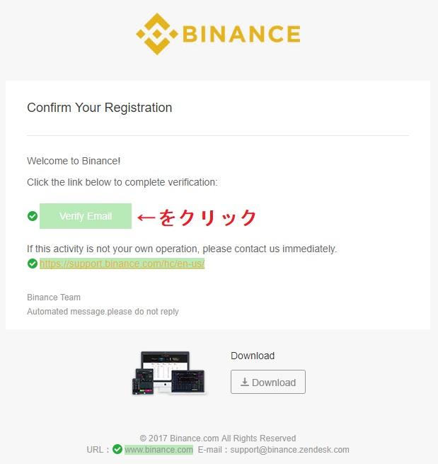 Binance(バイナンス)からのメール