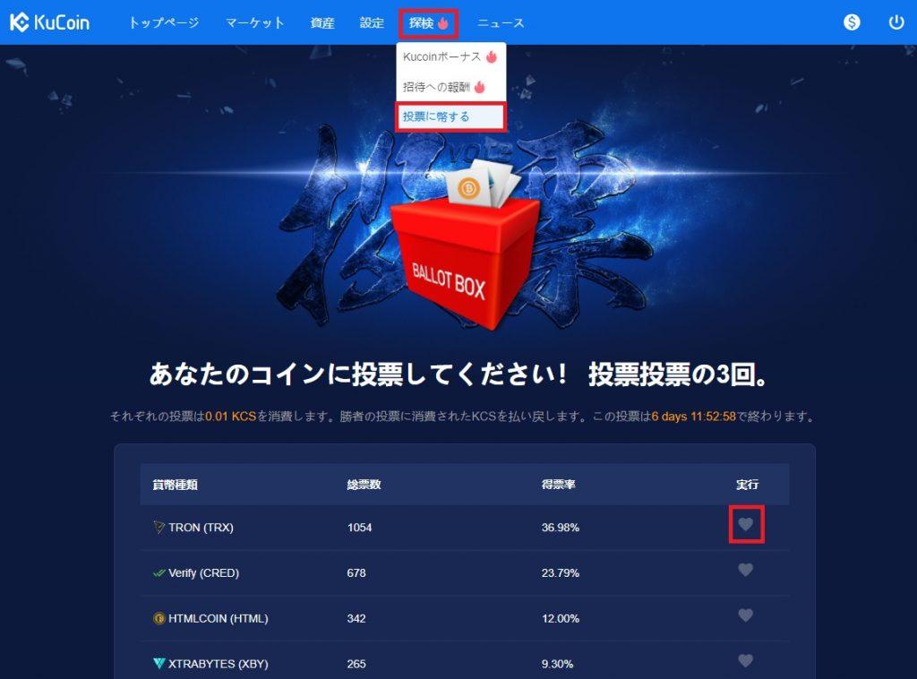 KuCoin (クーコイン) 上場投票ランキング説明